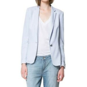 ZARA Blue Single Button Polka Dot Lined Blazer